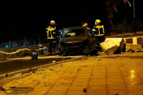 Aparatoso accidente a medianoche en Agüimes