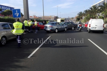 Accidente múltiple en la GC-1 con siete vehículos implicados (Foto TA)
